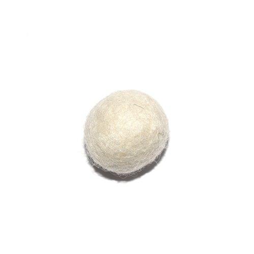 Boule en laine feutrée/feutrine 20 mm blanc