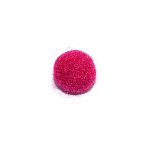 Boule en laine feutrée/feutrine 20 mm fuchsia