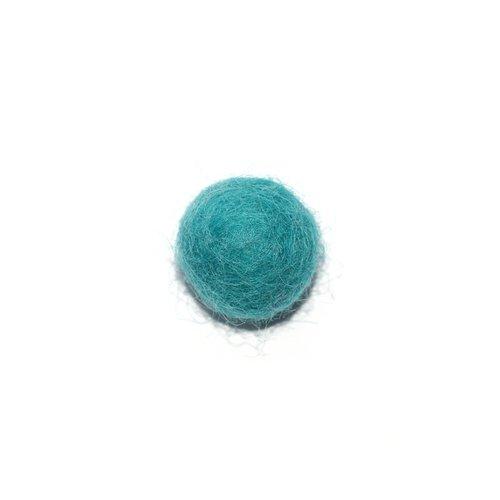 Boule en laine feutrée/feutrine 20 mm bleu turquoise