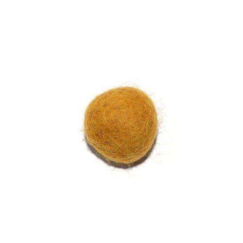 Boule en laine feutrée/feutrine 20 mm jaune moutarde