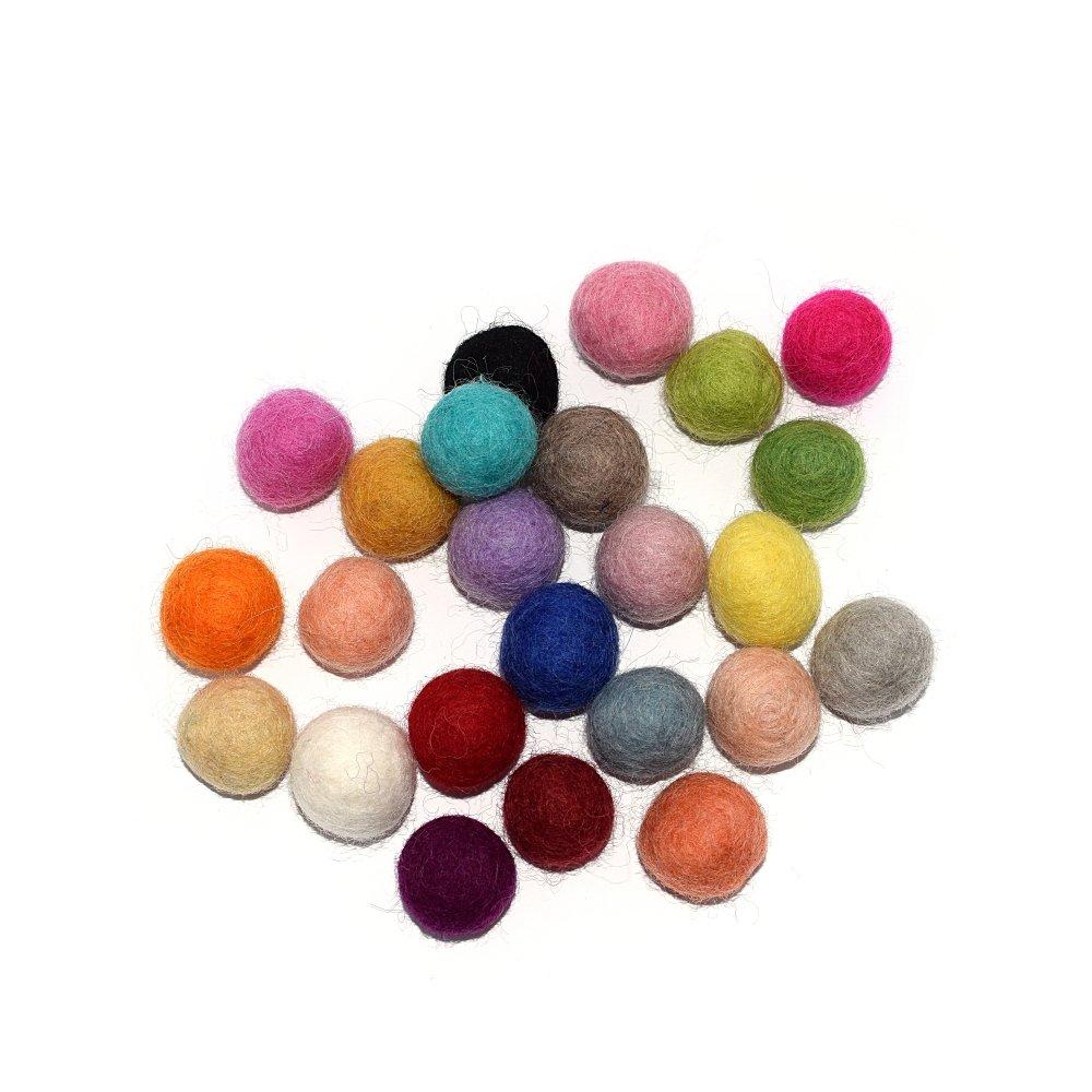 Boule en laine feutrée/feutrine 20 mm rouge