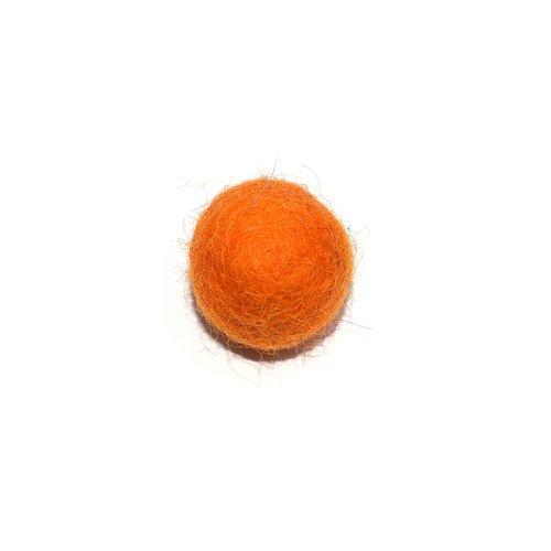 Boule en laine feutrée/feutrine 20 mm orange