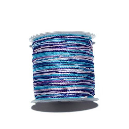 Fil nylon tressé 1 mm multicolore bleu, turquoise, mauve, rose x10 m