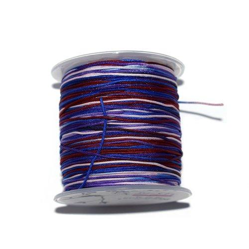 Fil nylon tressé 1 mm multicolore violet, bleu, bordeaux x10 m