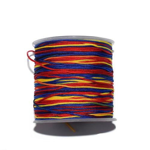 Fil nylon tressé 1 mm multicolore jaune, rouge, vert, bleu x10 m