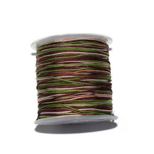Fil nylon tressé 1 mm multicolore vert, marron, beige x10 m