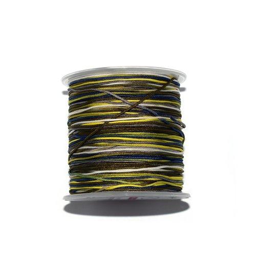 Fil nylon tressé 1 mm multicolore jaune, vert, bleu, gris x10 m