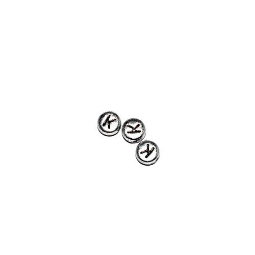 Perle ronde alphabet lettre k acrylique argenté 7 mm