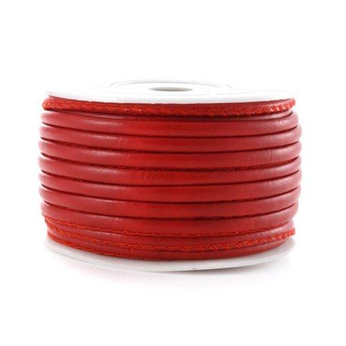 Cuir piqué rond 3 mm rouge x 10 cm