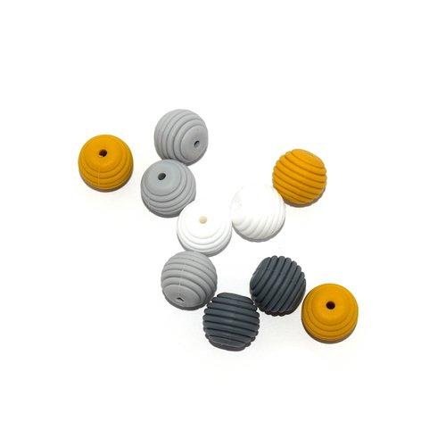 Perle silicone spirale 15 mm camaïeu gris moutarde x10