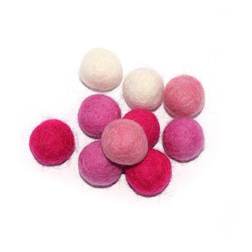 Boule en laine feutrée 20 mm camaïeu rose beige x10