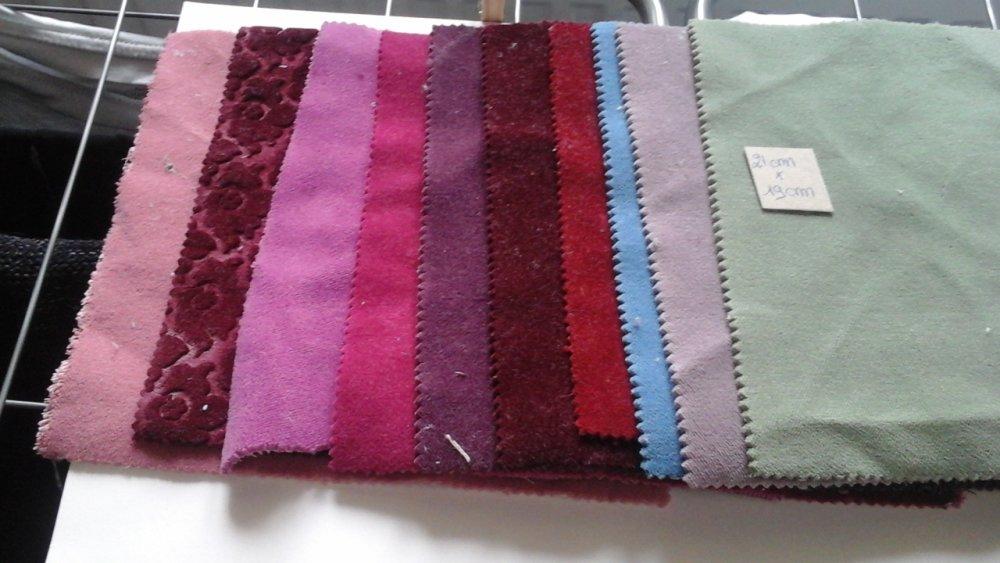 Lot de 10 coupons de tissu patchwork style velour