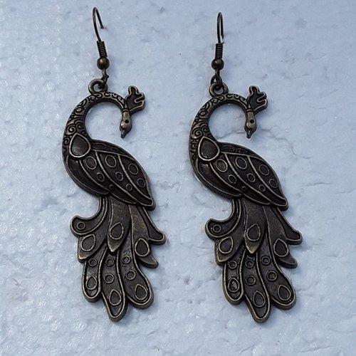 Boucles d oreilles grand paons 6cm, bronze
