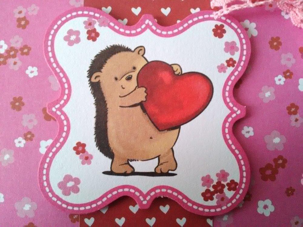 """Carte de Saint Valentin """"hérisson"""""""