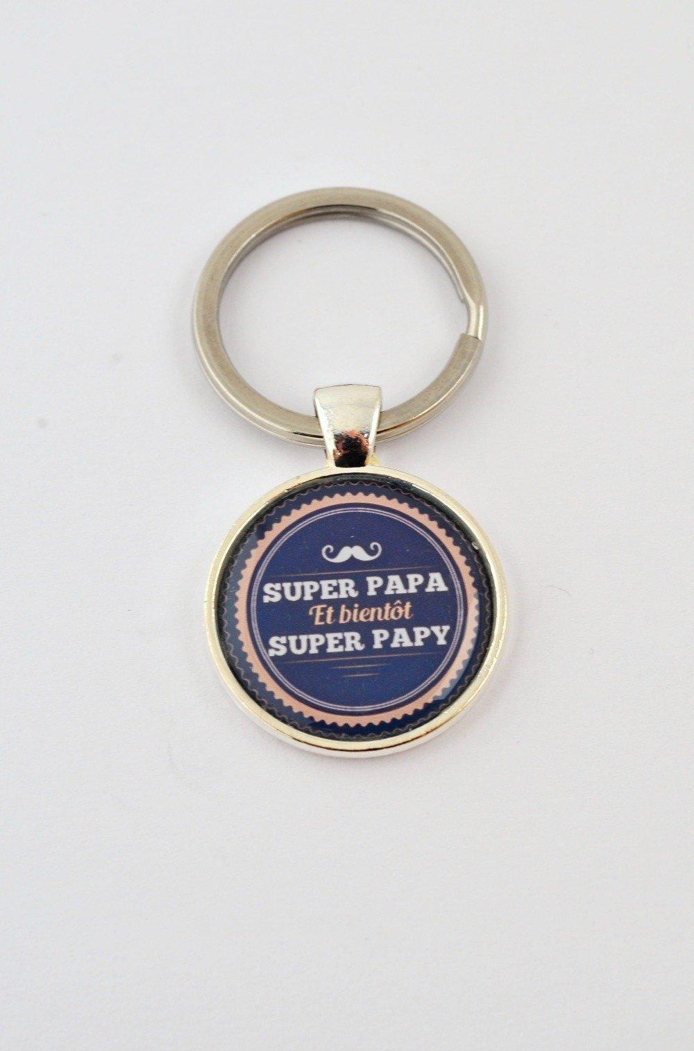 """Porte-clefs """"Super papa et bientôt super papy"""""""
