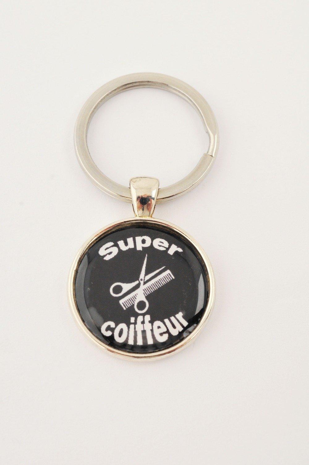 """Porte-clefs """"Super coiffeur"""""""