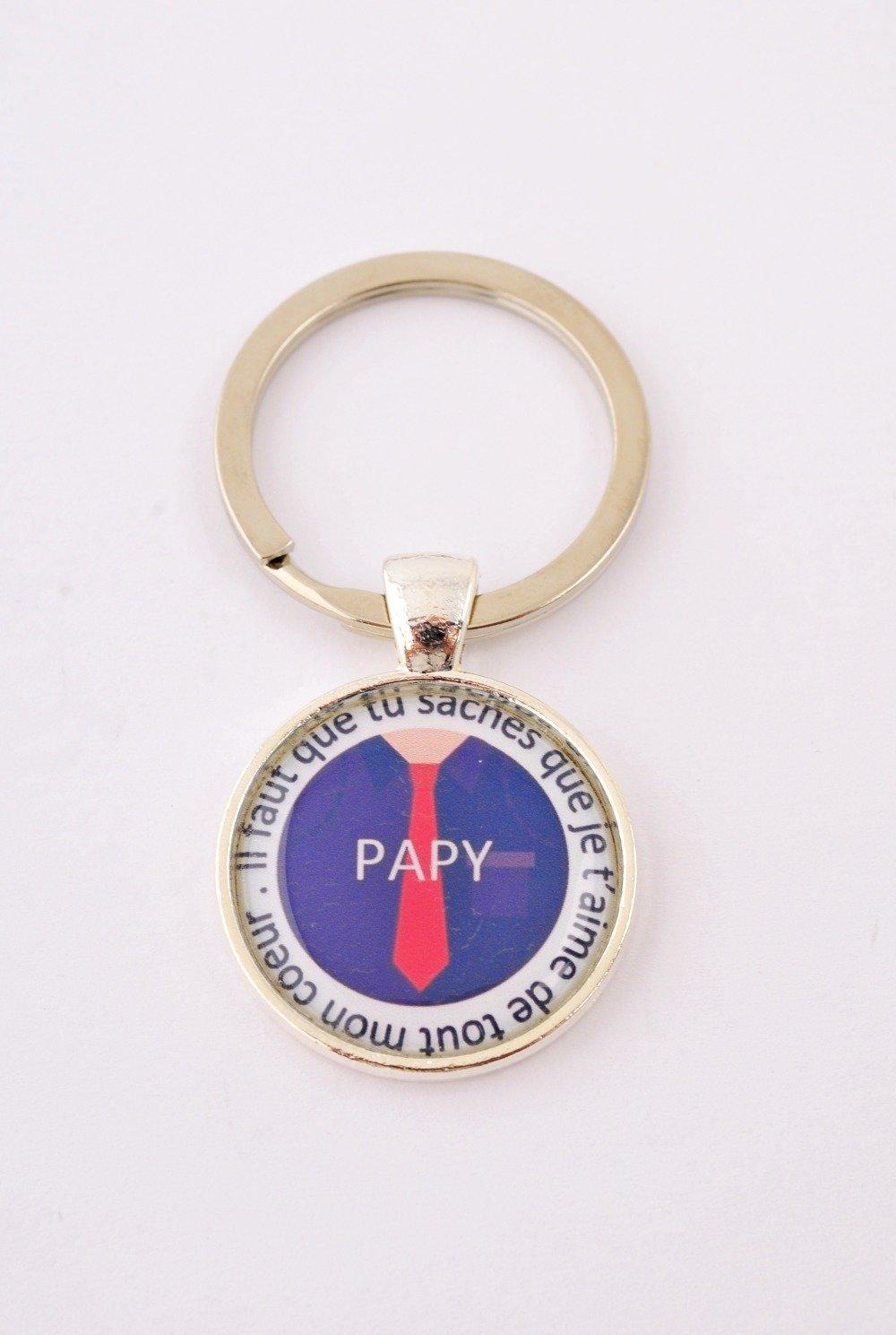 """Porte-clef """"Papy, il faut que tu saches que je t'aime de tout mon coeur"""""""