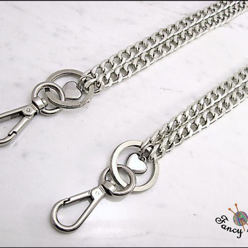 Chaîne pour sac à main, couleur argent, long 40 cm, complètent avec des anneaux, des mousquetons