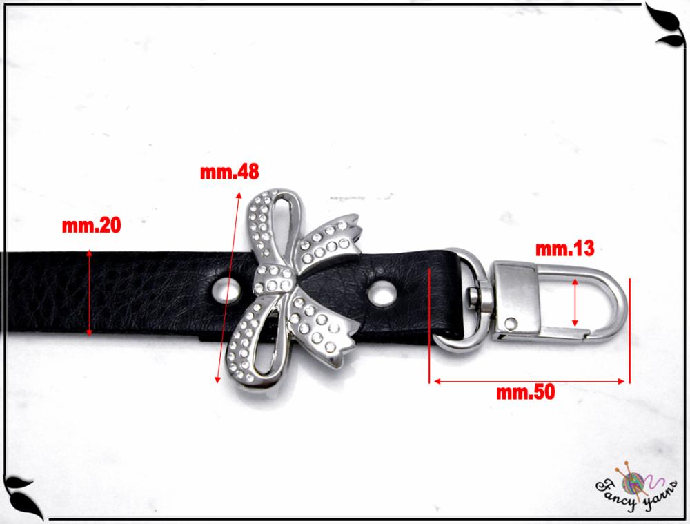 gérer similicuir noir avec strass arc, 60 cm.