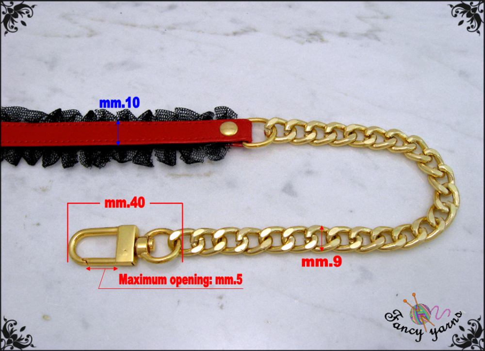 Bandoulière pour sac long de 85 cm - simili cuir brillant cousu avec tulle, chaîne en or ou en argent, 6 choix de couleurs à choisir