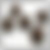 Bouton en métal - blason de lys de florence, couleur laiton vieilli, attache tige - 5 pièces