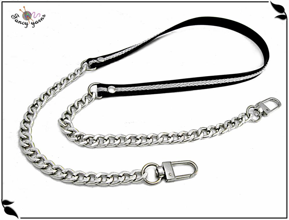 bandoulière pour sacs cm. 115 faux cuir noir avec lurex argent et chaîne en argent