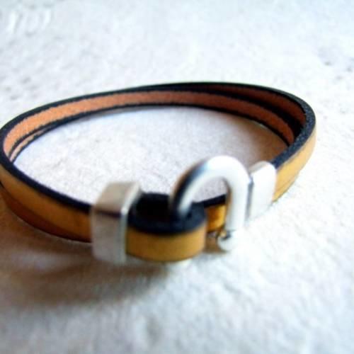 Bracelet en cuir 5mm doré superbe fermoir fer à cheval plaqué arge
