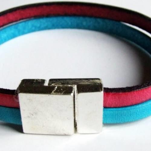 Bracelet en cuir 5mm turquoise et rose superbe fermoir magnétique