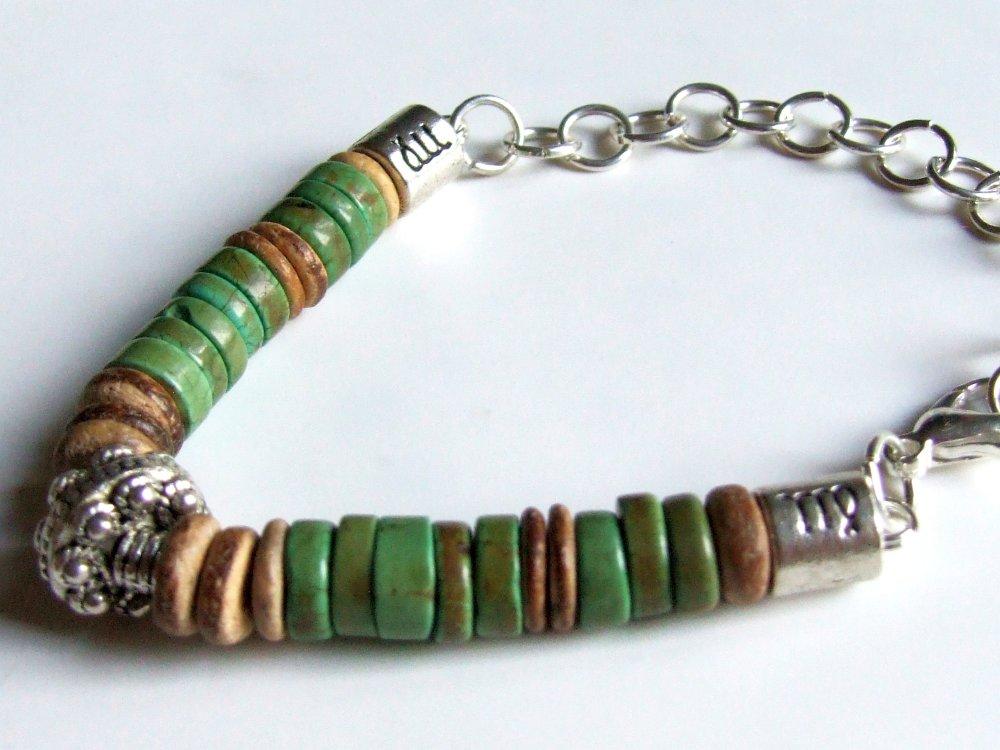 Bracelet homme, bracelet pierre, turquoise verte, pierre naturelle, bois de coco, bracelet surf, rustique, Boho, bijou bohème