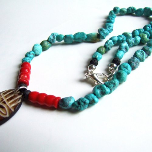 collier corail rouge homme