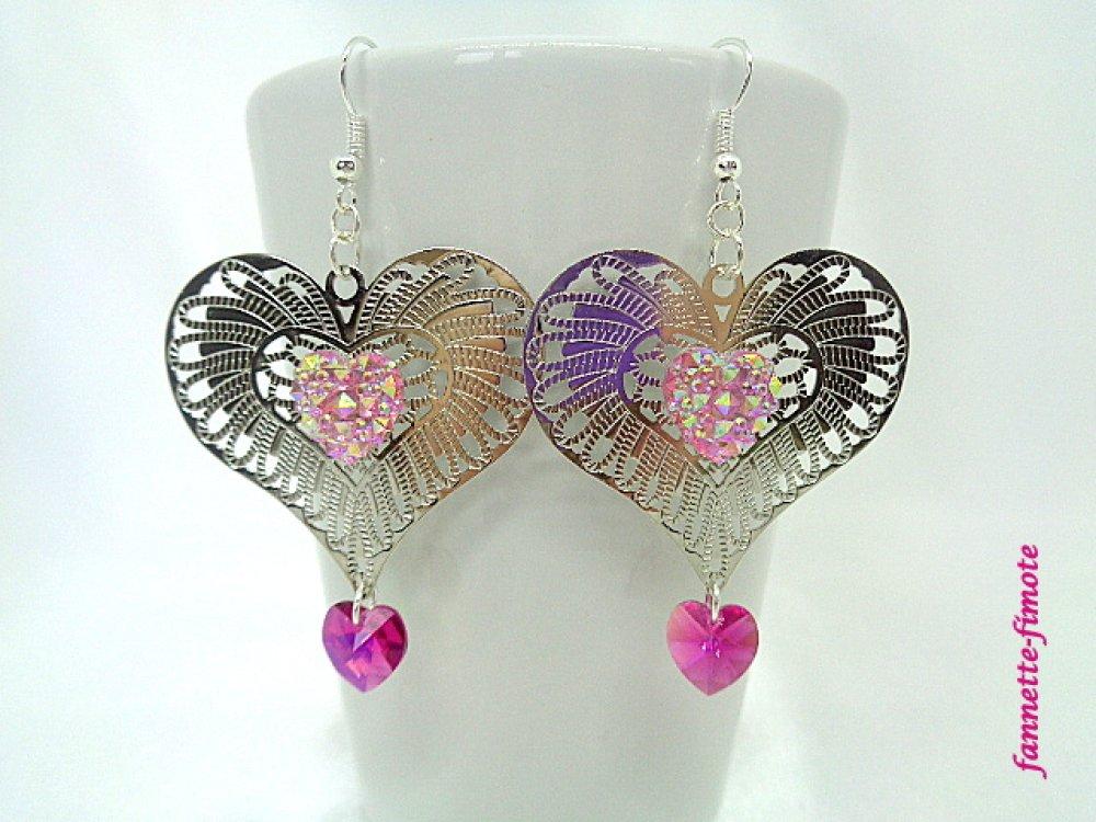 Boucles d'oreilles Cœur filigrané argent + Swarovski Saint valentin