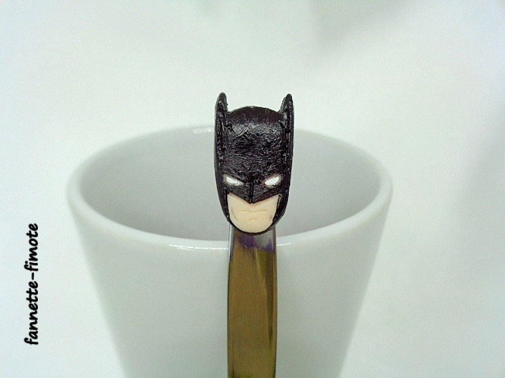 Cuillère en acier inoxydable en Pâte polymère Fimo Marvel Tête de Batman - Fait main