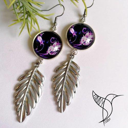 Boucles d'oreilles fleurie noir et violet