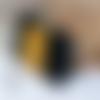 Porte-monnaie arlequin noir et moutarde