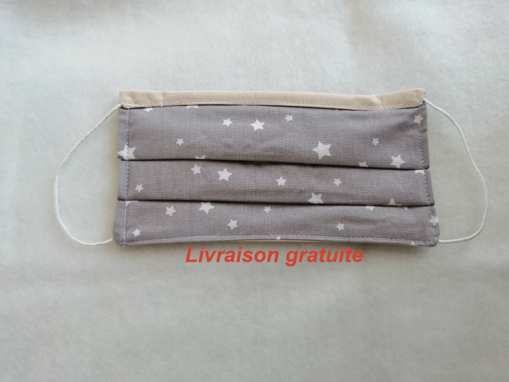 masque de protection enfant petite étoiles 3 plis en coton serrage au nez lavable