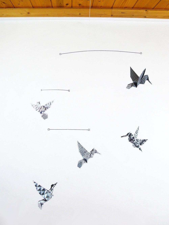 Mobile design origami oiseaux