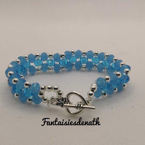 Bracelet perles deux tons de bleu