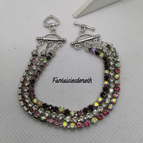 Bracelet 3 rangs strass et cristal