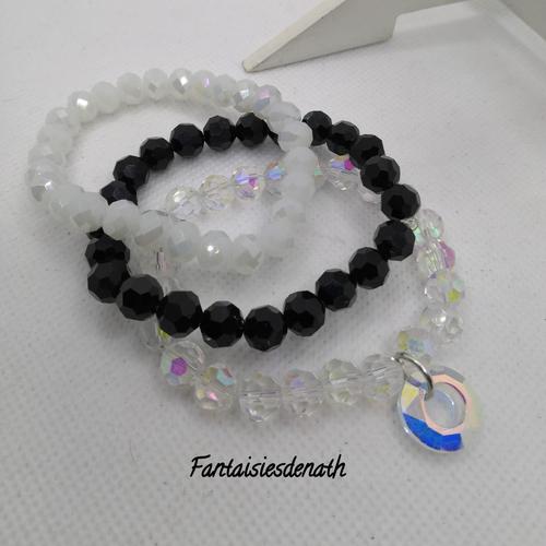 Bracelets par trois elastiques noir cristal blanc opaque