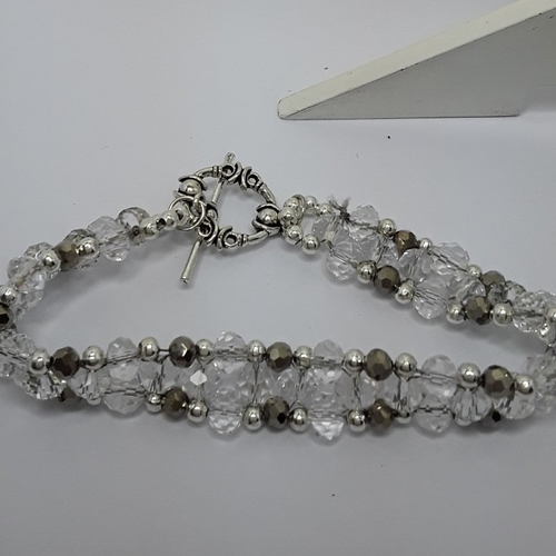 Bracelet cristal et gris tisse