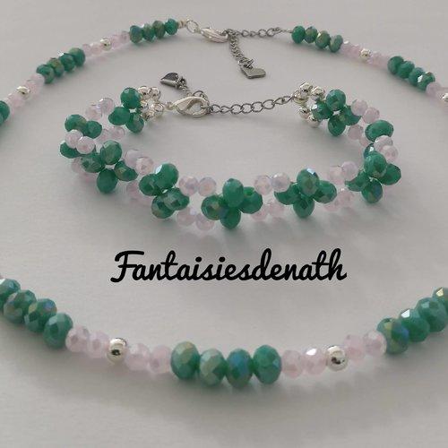 Ras de cou rose et vert tendre et bracelet