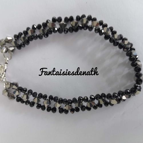 Bracelet toupies swarovski bronze et perles noires