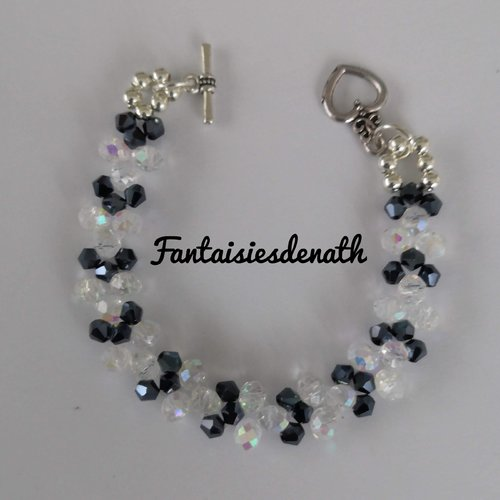 Bracelet de perles cristal et noires