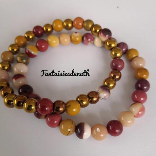 Bracelets par deux elastiques agates bordeaux, marron, jaune