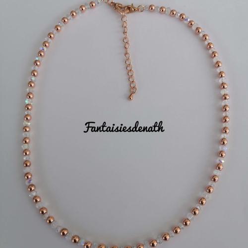 Ras de cou hematites or rose et perles cristal