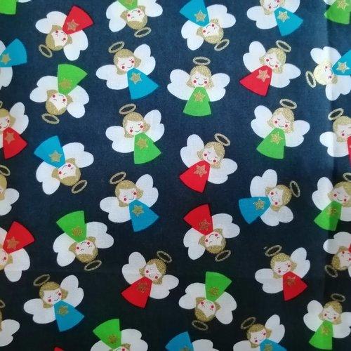 Tissu coton motifs anges   l:50 x h:50