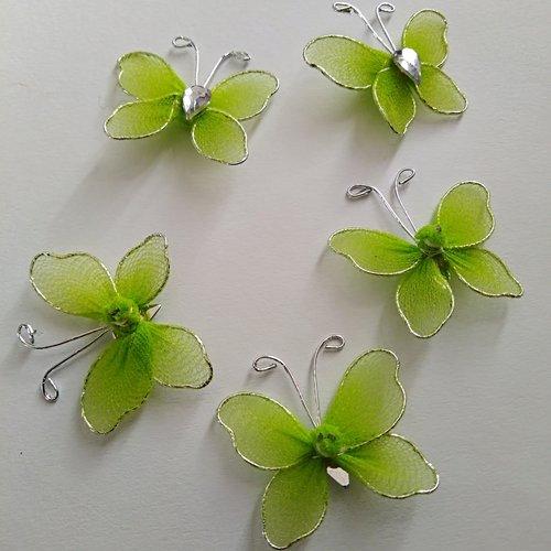 Lot de 5 breloques papillons verts