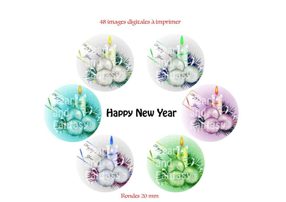 """Images Digitales Rondes """"Happy New Year"""" 20 mm"""