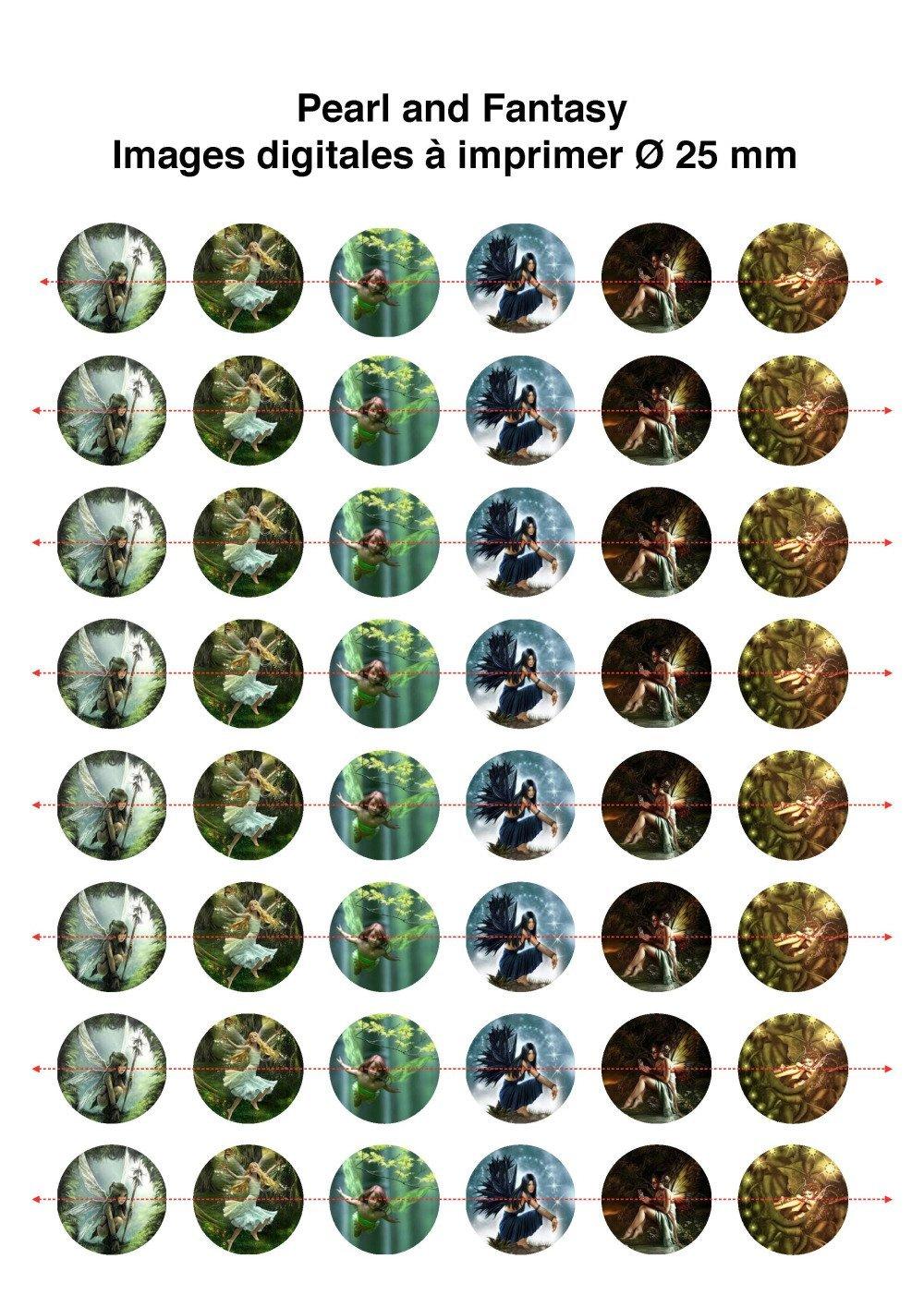 "Images Digitales Rondes ""Fée Des Bois"" 25 mm"