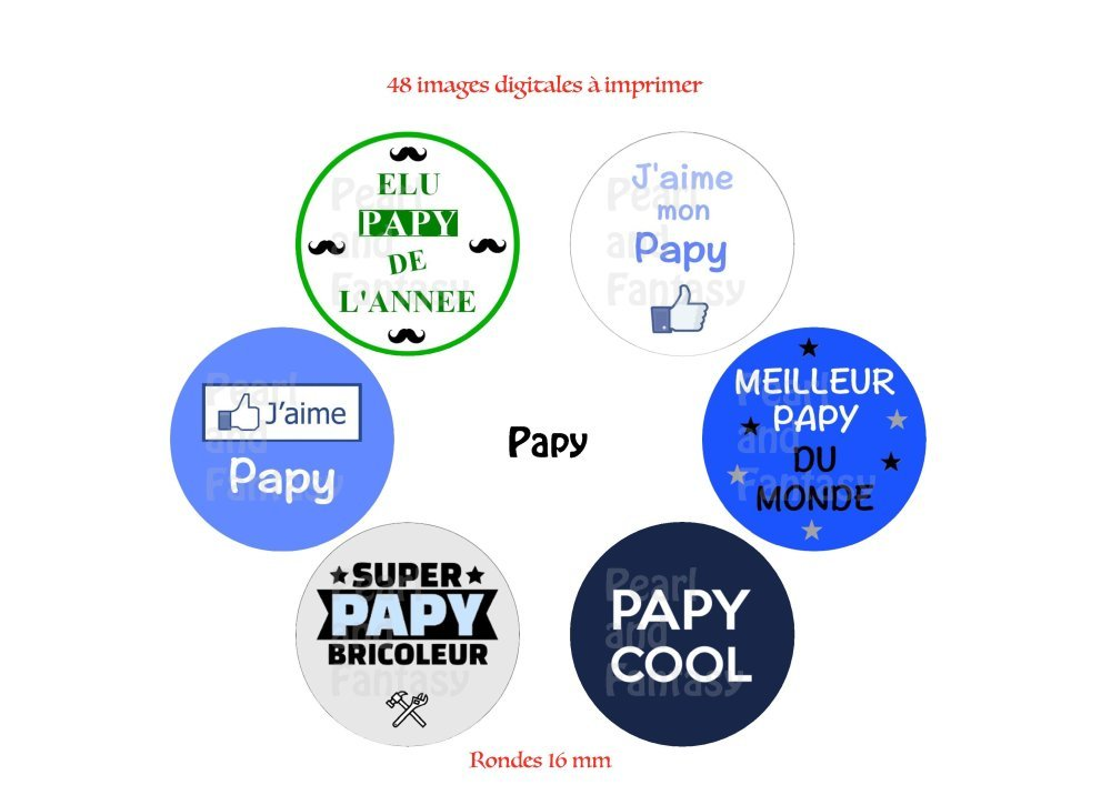"""Images Digitales Rondes """"Papy"""" 16 mm"""